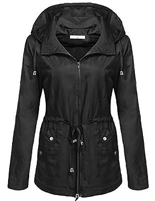 Goodfans Women's Waterproof Lightweight Rain Jacket Anorak with Detachable Hood