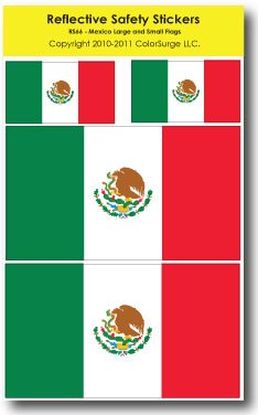Flag of Mexico REFLECTIVE Safety Sticker