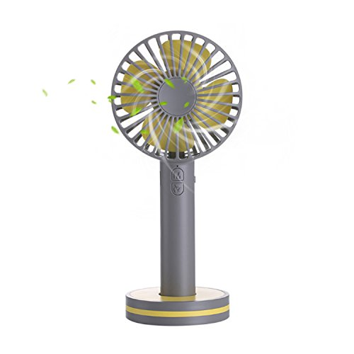 Mini Handheld Fan,Portable Personal Desktop Cooling Fan,Desk Macaron USB Rechargeable Fan with Gust Mode and Magnetic Mirror Base for Office Outdoor Household Traveling (3 Speed,Gray)