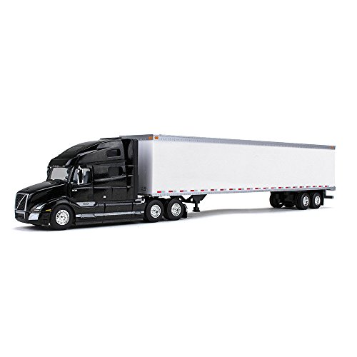 (First Gear 1/87 Scale Diecast Collectible Sable Black Metallic/White Volvo VNL 760 Sleeper Cab Tractor with Plastic 53' Trailer (#80-0324) )
