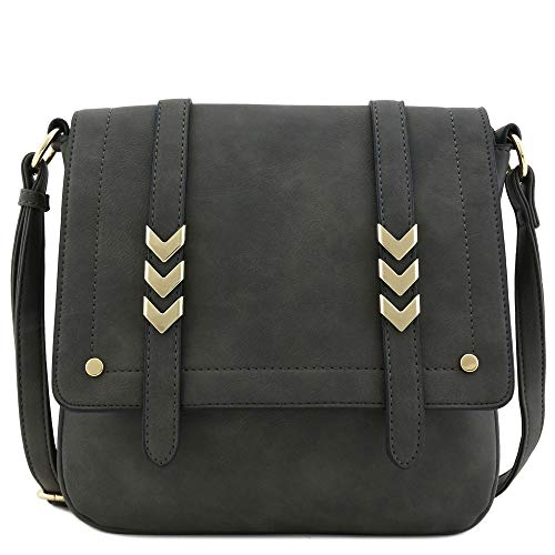 Double Compartment Large Flapover Crossbody Bag (Charcoal Grey) (Crossbody Purse Grey)