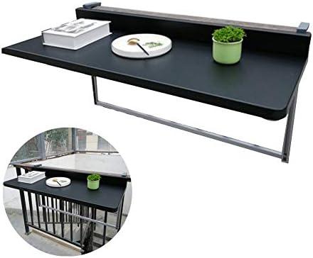 折り畳みテーブルウォールマウント、バルコニー バーカウンター 手すり 吊り下げテーブル リフト 余暇 ダイニングテーブル アルミ金属 パネル 防錆剤、 黒