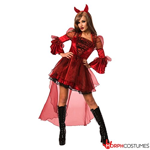 Womens Devil Costume Adult Sexy Female Warlock Dress Wicked Horns Ladies Outfit