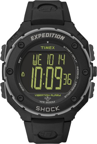 Timex Expedition Men's T49950 Watch with Black Dial Digital Display and Black Resin Strap ()