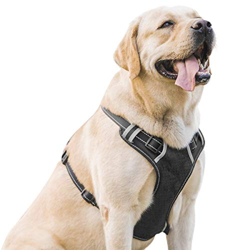Besmon Dog Harness No Pull Pet Harness 3M Nylon Material Reflective Adjustable Pet Vest Harness Breathable Easy Control and Comfortable for Medium Large Dog
