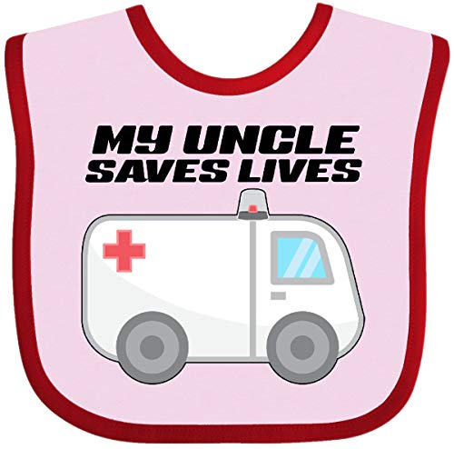 Inktastic - My Uncle Saves Lives- Ambulance Baby Bib Pink and Red 301ff