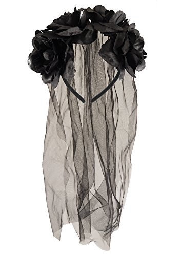 Zombie Bride Costumes For Halloween (Adult Halloween Zombie Bride Black Veil With Flowers Fancy Dress Accessory)