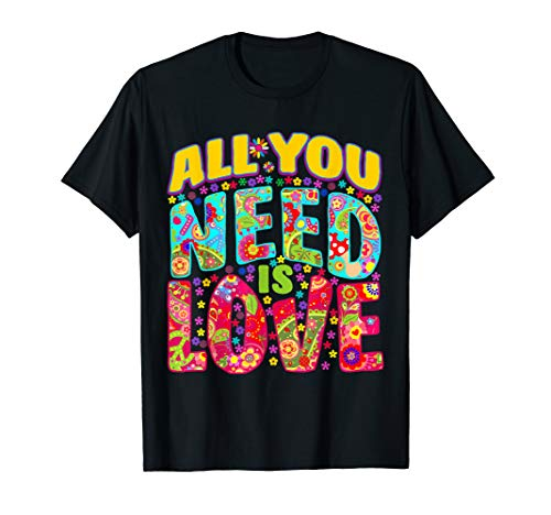 Hippie Flower Power T-Shirt Peace & Love Retro 60s 70s Tee]()