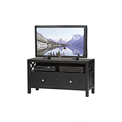 Modern, Elsa 2 - Drawers TV Stand Is Solid and Durable Construction From Pine and Painted MDF, Ebony with Rub Thru