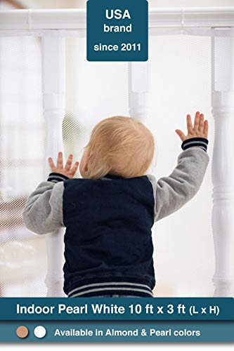 Roving Cove | Banister Guard | Baby Safety Stairs Rail Net | Baby Proofing Stair Balcony Banister Railing Guard | Child Proof Stair Guards Mesh | Safe Rail | Indoor 10ft L x 3ft H | Pearl White