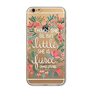 iPhone 7 , Colorful Rubber Flexible Silicone Case Bumper for Apple Clear Cover - Shakespeare Quotation Though be Little, She is Firece, A Midsummer Night's Dream