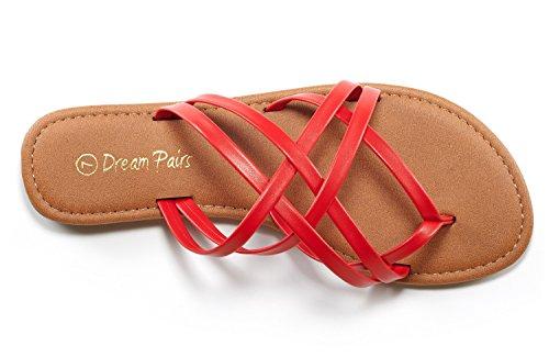 DREAM Womens PAIRS Flat Slipp 01 Slides Design red Crossover Fashion 01 Thong Sandals qqRgr6