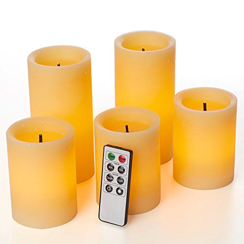 Cheap glowiu Faux Wick Flickering Flameless Candles, Christmas Pillar Candles Set of 5(H4-3pc & H6-2pc x D3) with 8-Key Remote Multi Function (Rustic Honey)