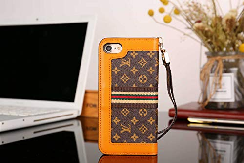 (Phone case for iPhone7 8 Wallet Case, Classic Pattern Luxury Elegant Leather Detachable Cover and Hand Strap Closure Flip Case for iPhone7, iPhone8)