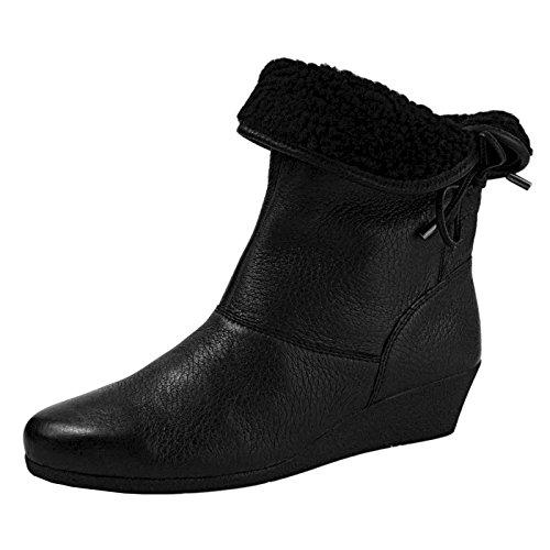Caprice - Botas de cuero para mujer negro negro