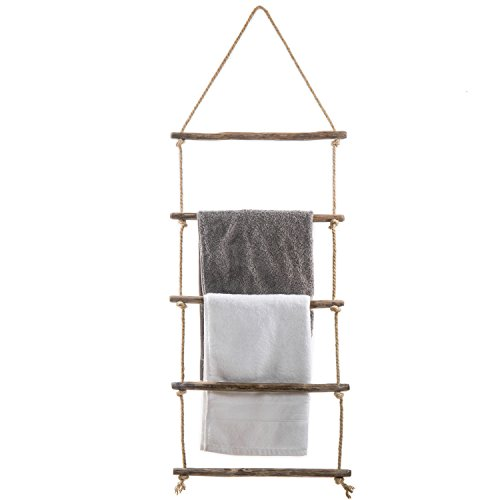 Hanging Ladder - MyGift 4-Foot Wall-Hanging Natural Wood & Rope Ladder Towel Rack