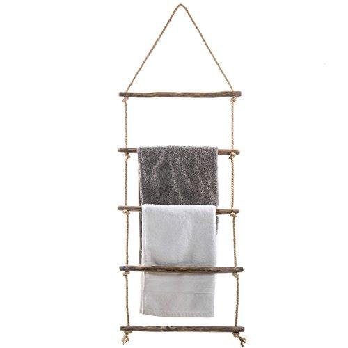 MyGift 4-foot Wall-Hanging Natural Wood & Rope Ladder Towel Rack (Wall Wood Rack Natural)
