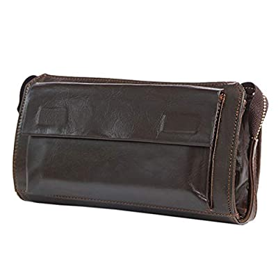 Men's Leather Clutch Bag Casual Wallet Wrist Bag Handbag Long Purse Business