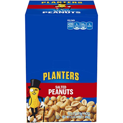 Planters Salted Peanuts Single Serve (15 Count of 2.5 oz Bags), 40 oz