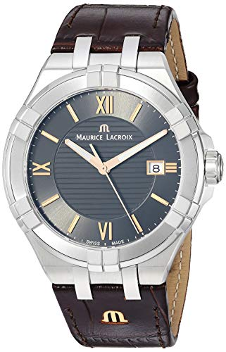 Maurice Lacroix Men's 'Aikon' Swiss Quartz Stainless Steel and Leather Watch, Color:Brown (Model: AI1008-SS001-333-1