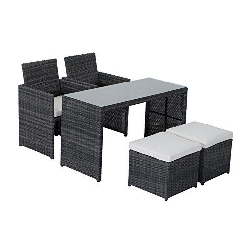 Outsunny 5-Piece Outdoor Rattan Wicker Dining Set Cushioned Patio Sectional Furniture with Glass Top Table (Patio 4 Rattan Set Seat Cube Furniture)