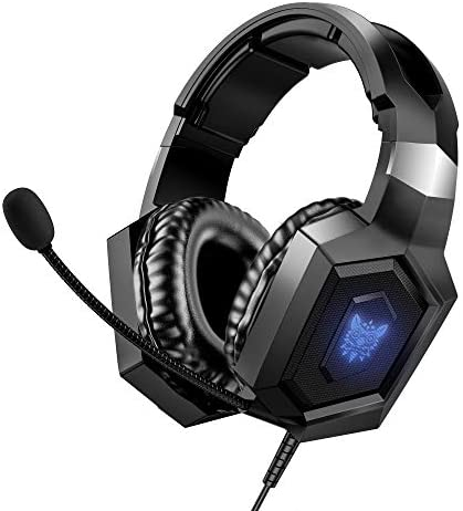 Gaming Headset Xbox One Headset with 7.1 Surround Sound, Noise-Canceling Gaming Headphones with Mic, RGB LED Light & Memory Earmuffs Compatible with PC, PS4, Xbox One, Mac, Laptop(Black)