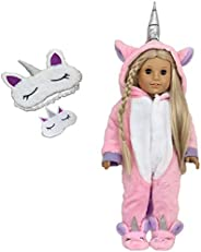 MY GENIUS DOLLS Clothes - Unicorn Onesie Pajama with Matching Sleepover Masks - Clothes for 18 inch Dolls Like