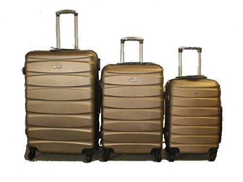 DZL Set 3 Trolley valigie rigide in ABS e policarbonato 4 ruote piroettanti colori vari (MARRONE)