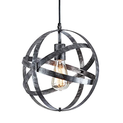 Industrial Vintage Metal Ceiling Pendant Light,Wrought Iron Light,Globe Metal Spherical Hanging Light Fixture for Kitchen Island Bedroom entryway Hallway Dining Room,Silver