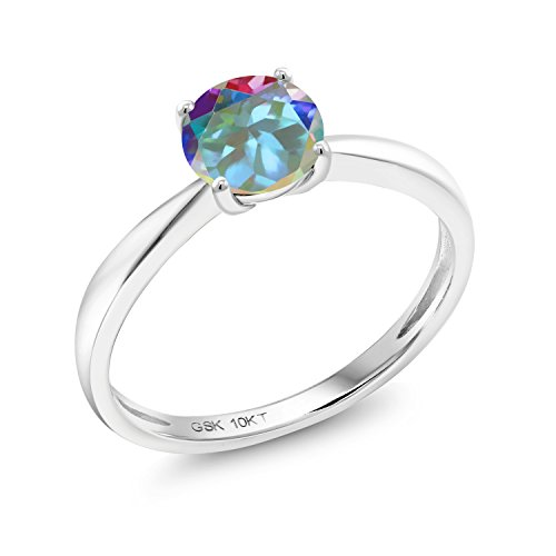 Gem Stone King 1.00 Ct Round Mercury Mist Mystic Topaz 10K White Gold Solitaire Ring (Size 7)