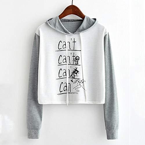 Vendita shirt Liquidazione Grigio Lunghe Autunno Tops Top Camicie Casual Camicette Lettera Con Incappucciato Felpa T Elegante Stampato Di Breve A Cordino Maniche 7rx6157aqw