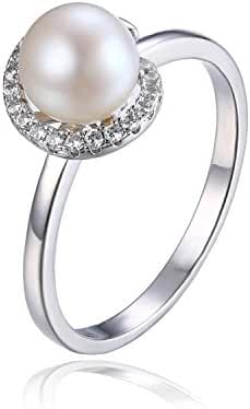JewelryPalace Women's White 8mm AAA Quality Freshwater Cultured Pearl Ring Halo Style 925 Sterling Silver