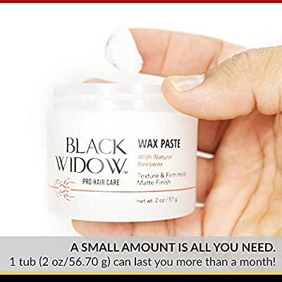 Scented Hair Wax for Men - Natural Beeswax Paste Infused with Lanolin Wax for Styling All Hair Types - Firm Hold and Matte Finish Hair Styling Wax - Wax Paste with Natural Beeswax by Black Widow, 2 oz