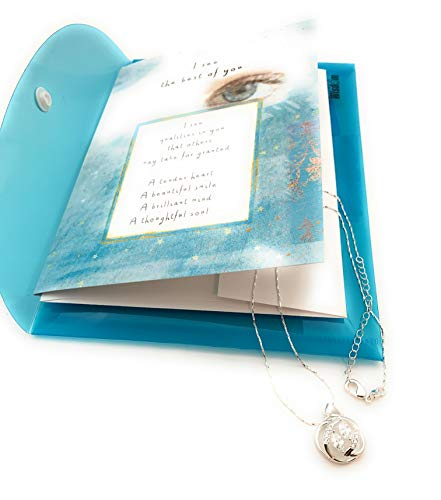 I See the Best of You Necklace Greeting Card Gift Set – Silver Plated Link Chain, CZ – Great for Birthday or to Show Appreciation To Daughter From Mom or Dad