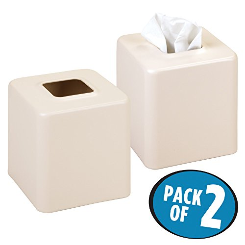 mDesign Square Paper Facial Tissue Box Cover Holder for Bathroom Vanity Countertops, Bedroom Dressers, Night Stands, Desks and Tables - Pack of 2, Steel, Matte Vanilla (Bedroom Square Dresser)