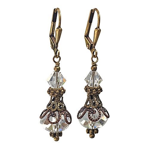 Bronze-tone Vintage Inspired Clear Crystal Boho Chic Earrings