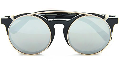 Vintage Round Horned Rim Sunglasses with Clipable Color Mirror Lens