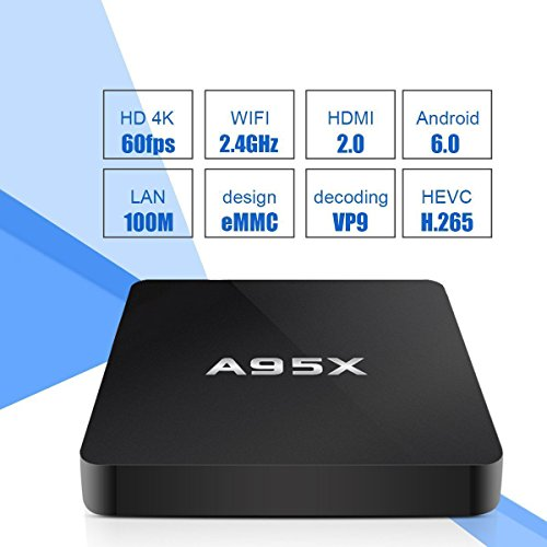 A95X TV Box Android 6.0 Amlogic S905X Quad Core 4K Media Player 2GB RAM 8GB ROM Support HDR VP9 H.265 with Bluetooth 4.0 Wifi Rooted Tuner Box