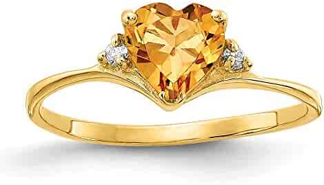 I1 clarity, G-I color Jewelry Adviser Rings 14k White Gold Diamond and Citrine Square Ring Diamond quality AA
