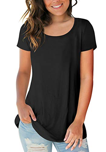 Sousuoty Women's Plain Short Sleeve Scoop Neck Tops Casual T Shirt Black L