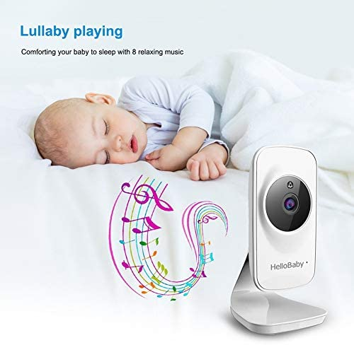 """41ZjDNBt9fL. AC - Video Baby Monitor With Camera And Audio, 5"""" Color LCD Screen, HelloBaby Monitor Camera, Infrared Night Vision, Temperature Display, Lullaby, Two Way Audio And VOX Mode"""