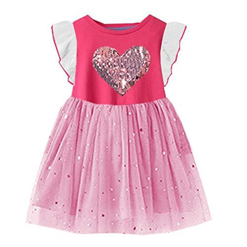 VIKITA Girls Summer Pink Heart Dresses Short Sleeve Casual Cotton Dress SH4542 6T]()