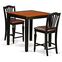 East West Furniture PBCH3-BLK-LC 3 Piece High Top Table and 2 Counter Height Chairs Set