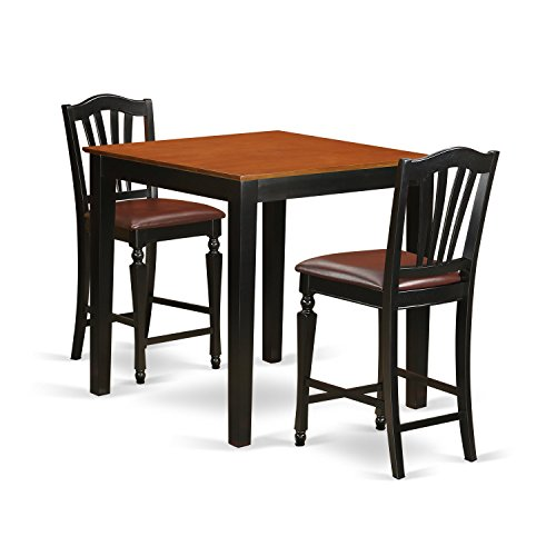 High Top Tables Chairs (East West Furniture PBCH3-BLK-LC 3 Piece High Top Table and 2 Counter Height Chairs Set)