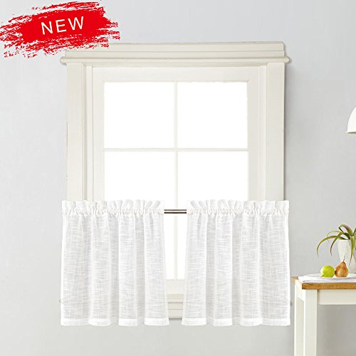 Zceconce White Linen Semi-Sheer Tier Curtains Privacy Textured for Kitchen 24 Inch Long for Kitchen Hotel Dining Room Total Size 72 Inch Wide (36×24, White, Set of Two)