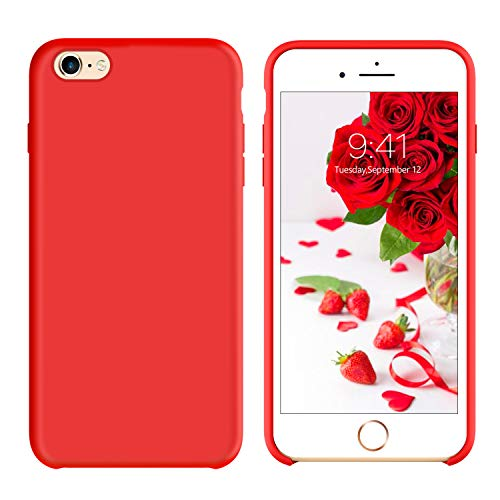 (GUAGUA iPhone 6 Plus Case iPhone 6S Plus Case Liquid Silicone Gel Rubber Cover with Soft Microfiber Cloth Lining Cushion Case Slim Fit Shockproof Protective Phone Cases for iPhone 6 Plus/6S Plus Red)