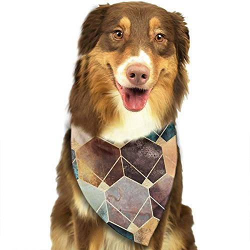 HGFR Natural Hexagon and Diamonds Customized Dog Headscarf Bright Coloured Scarfs Cute Triangle Bibs Accessories for Pet Dogs