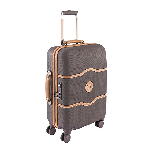 Delsey Chatelet Hard Plus 4-Wheel Slim Cabin Trolley Case 55cm - Chocolate