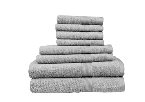 Pure Extravagance - Comfort Line, 8 Piece Towel Set; 2 Bath Towels, 2 Hand Towels and 4 Wash Towels - Cotton - Machine Washable, Hotel Quality, Super Soft and Highly Absorbent, Grey by Pure Extravagance