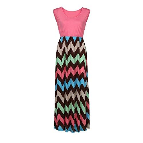 Xchenda Womens Striped Long Boho Straight Sleeveless Dress Lady Beach Summer Casual Bohemian Sundrss Maxi Dress (M, Pink)